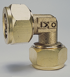 Close-up of a Kitec plumbing brass compression fitting