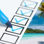 Marker checking off a Winter Vacation Home Checklist with a tropical beach in the background